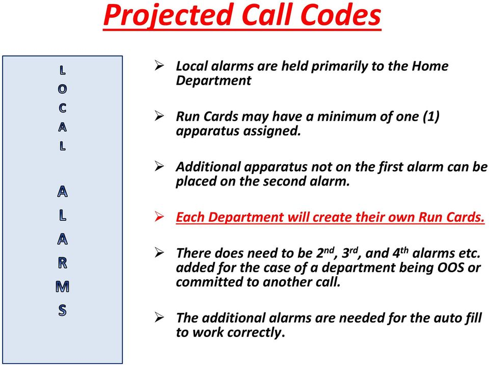 Each Department will create their own Run Cards. There does need to be 2 nd, 3 rd, and 4 th alarms etc.