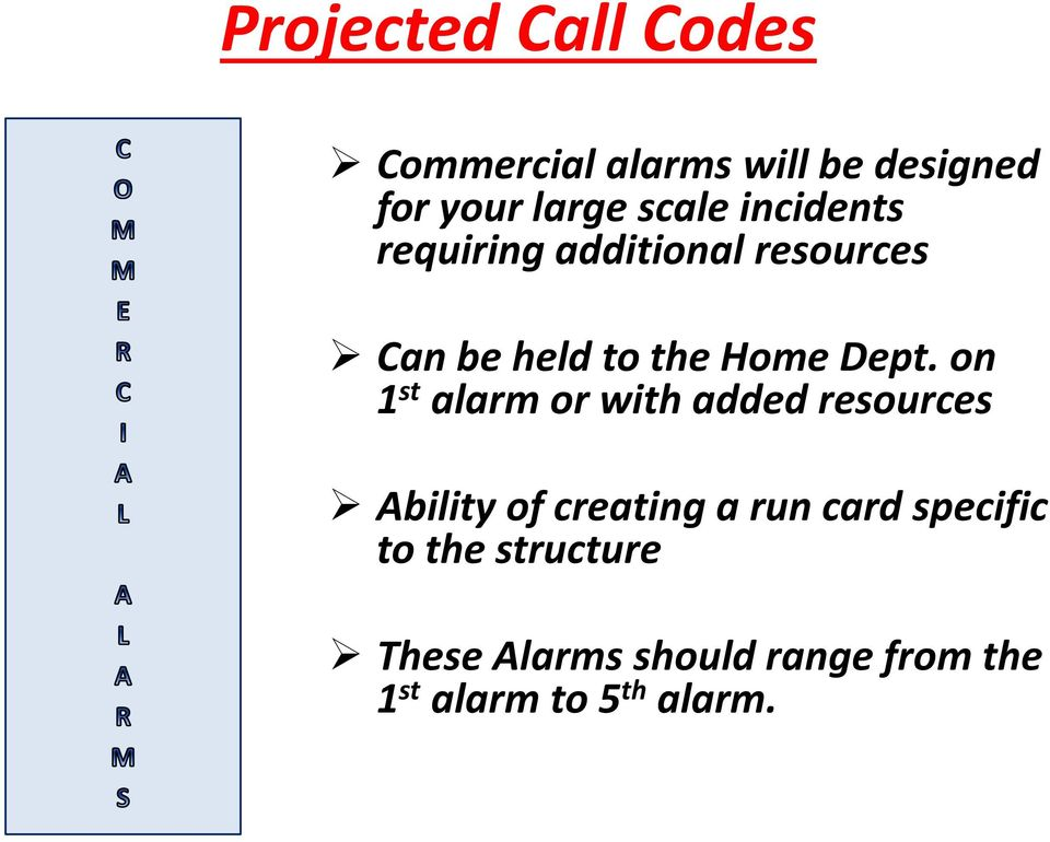 on 1 st alarm or with added resources Ability of creating a run card