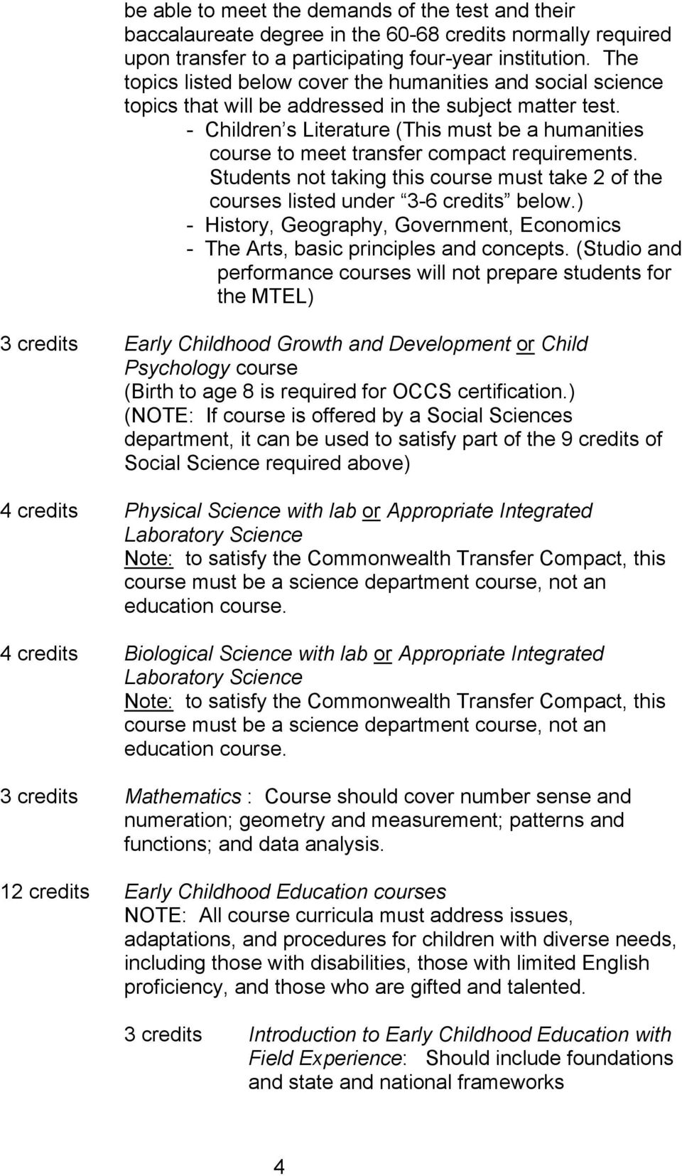 - Children s Literature (This must be a humanities course to meet transfer compact requirements. Students not taking this course must take 2 of the courses listed under 3-6 credits below.