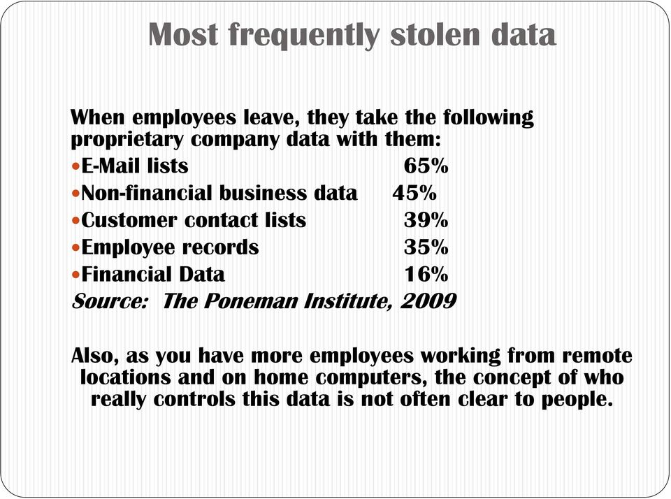Financial Data 16% Source: The Poneman Institute, 2009 Also, as you have more employees working from