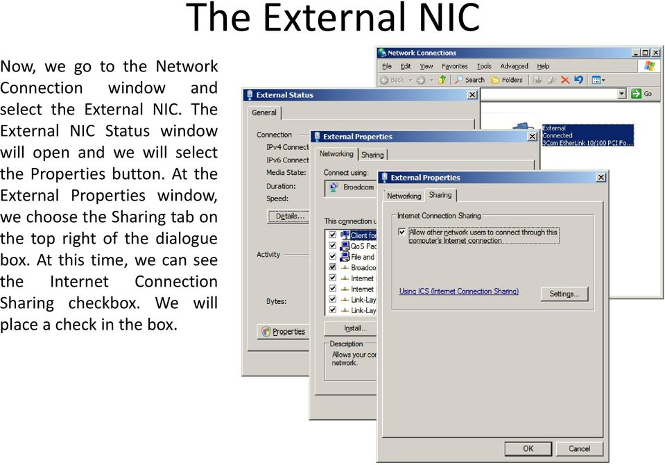 At the External Properties window, we choose the Sharing tab on the top right of the