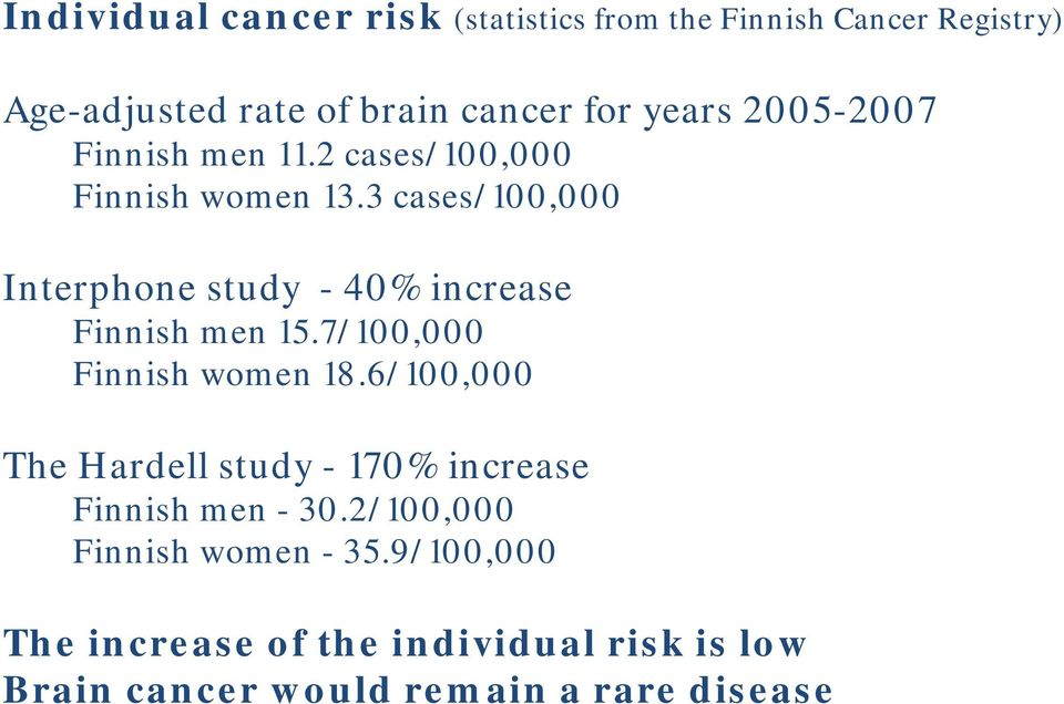3 cases/100,000 Interphone study - 40% increase Finnish men 15.7/100,000 Finnish women 18.