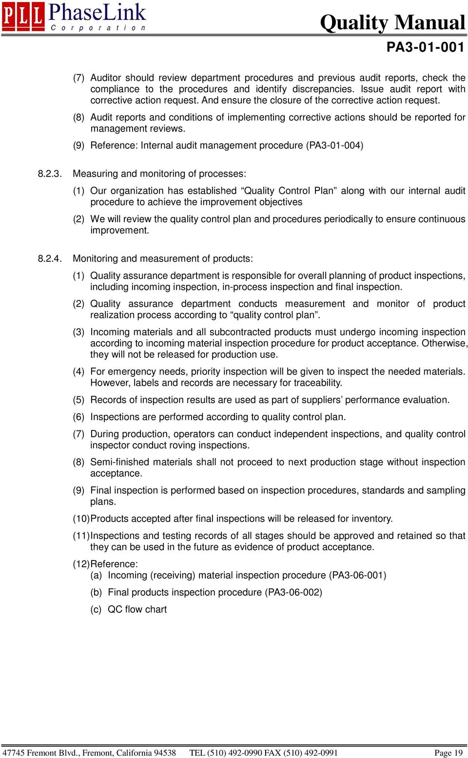 (9) Reference: Internal audit management (PA3-