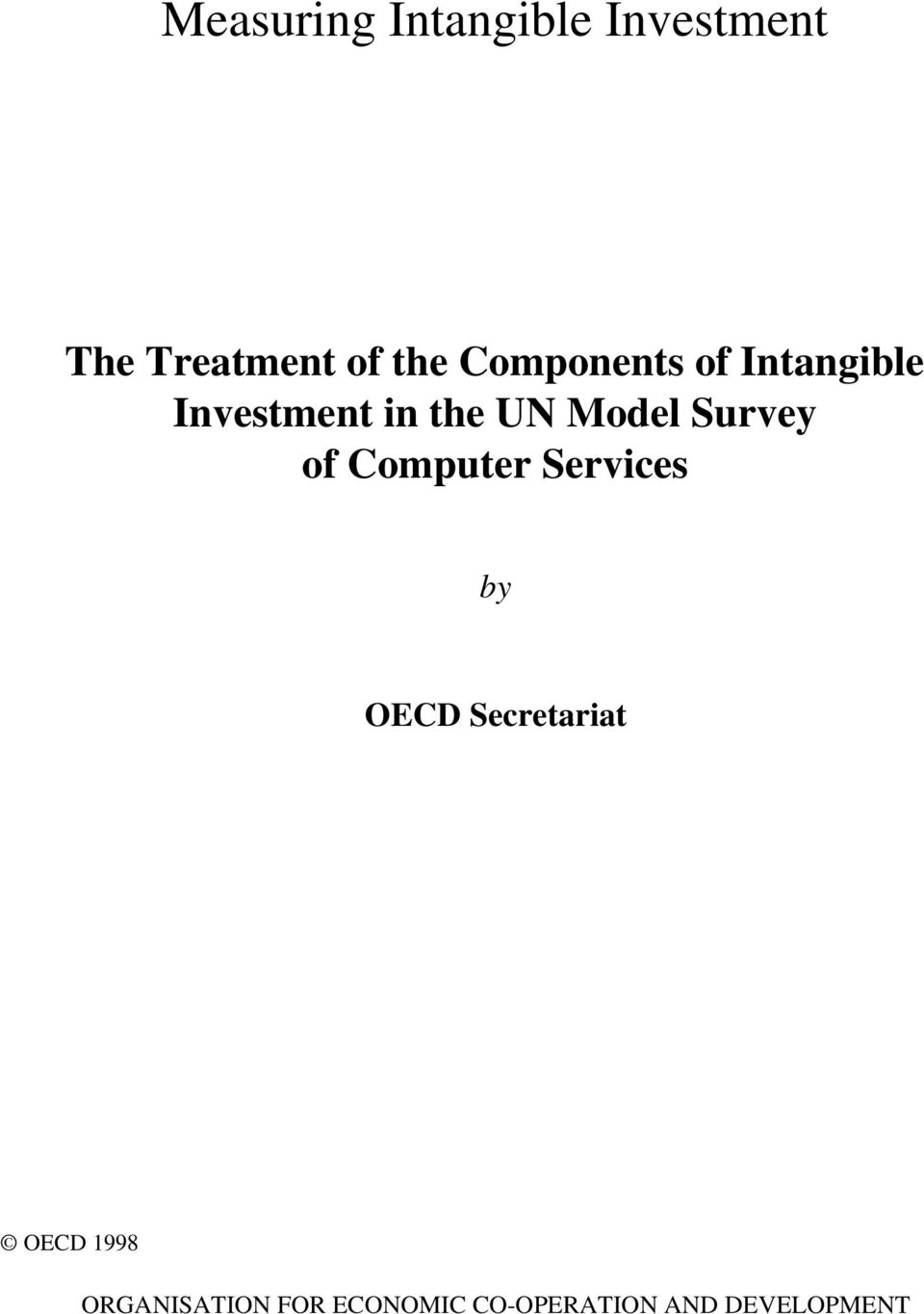 Survey of Computer Services by OECD Secretariat OECD