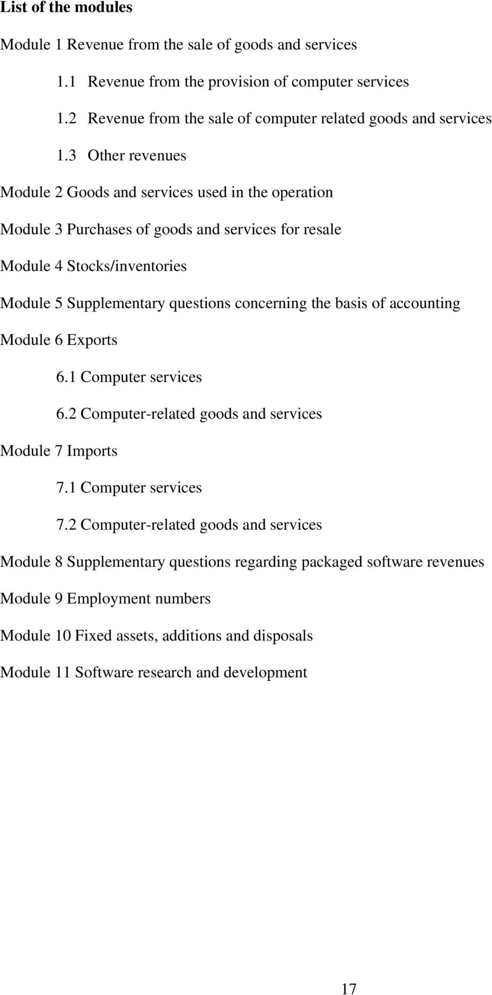 3 Other revenues Module 2 Goods and services used in the operation Module 3 Purchases of goods and services for resale Module 4 Stocks/inventories Module 5 Supplementary questions