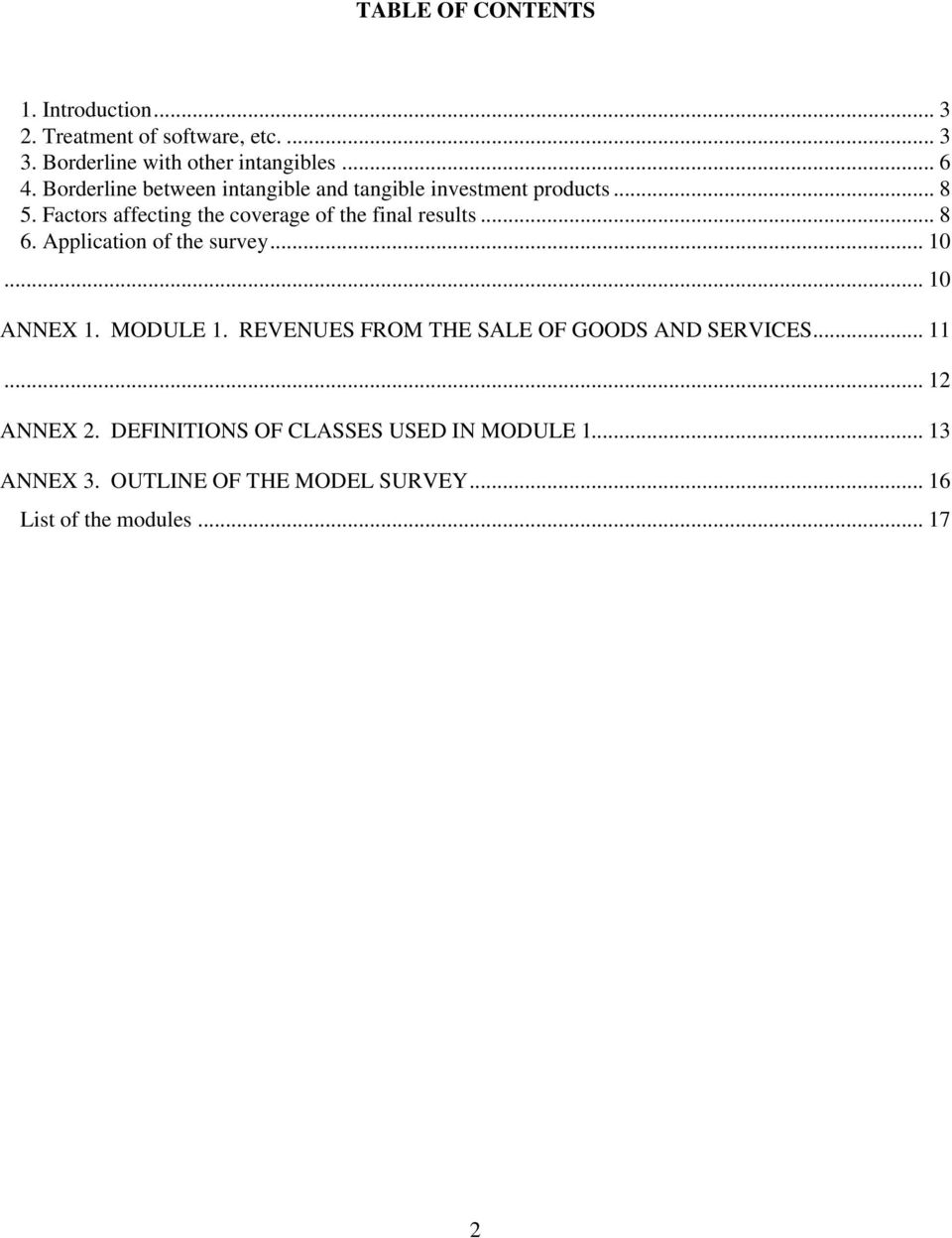 .. 8 6. Application of the survey... 10... 10 ANNEX 1. MODULE 1. REVENUES FROM THE SALE OF GOODS AND SERVICES... 11.