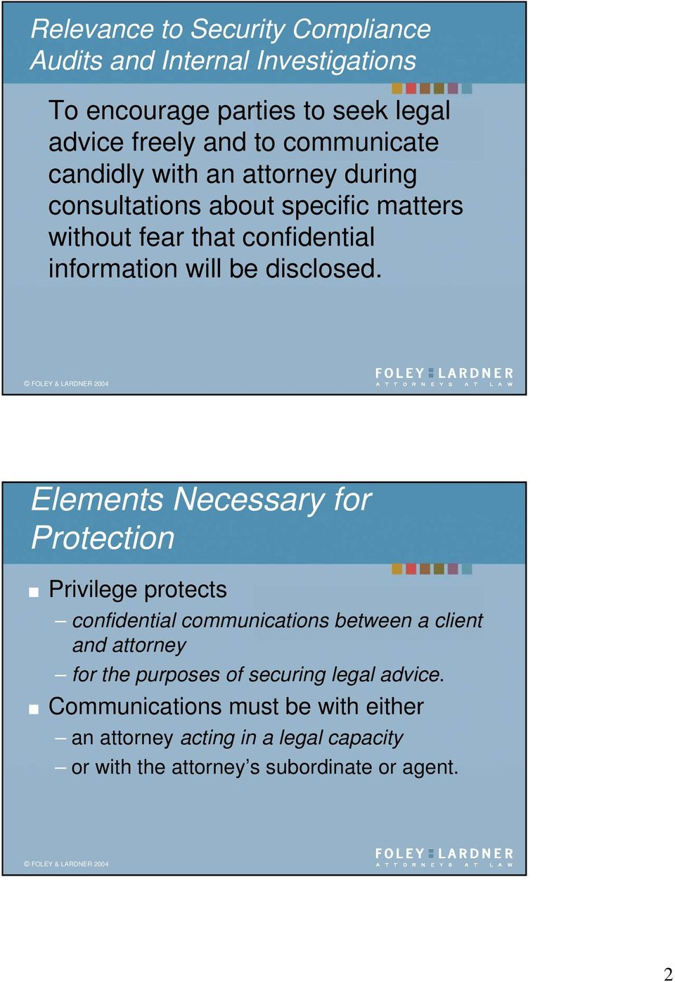 Elements Necessary for Protection Privilege protects confidential communications between a client and attorney for the purposes of