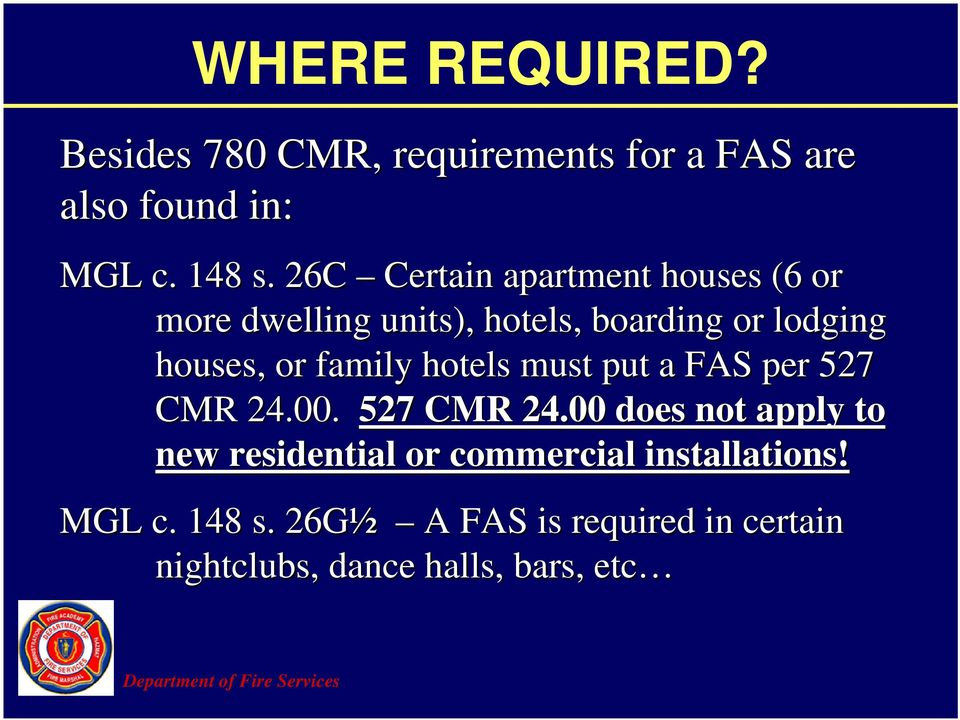 family hotels must put a FAS per 527 CMR 24.