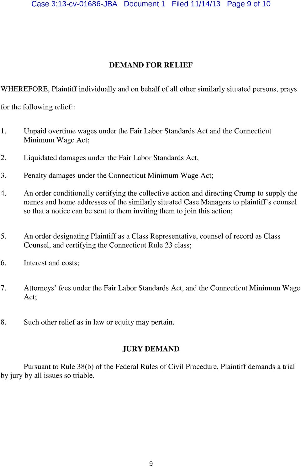 Penalty damages under the Connecticut Minimum Wage Act; 4.