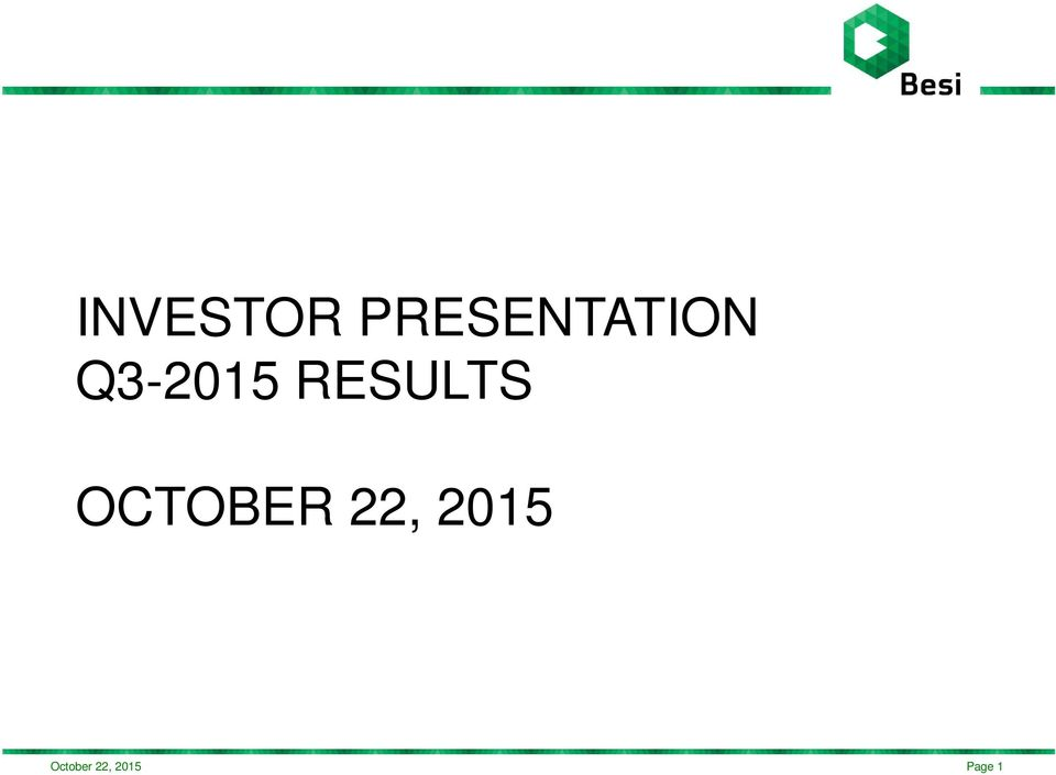 Q3-2015 RESULTS