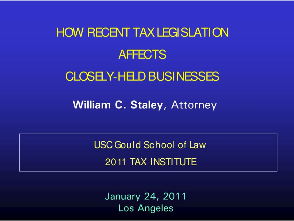Gould School of Law 2011 TAX