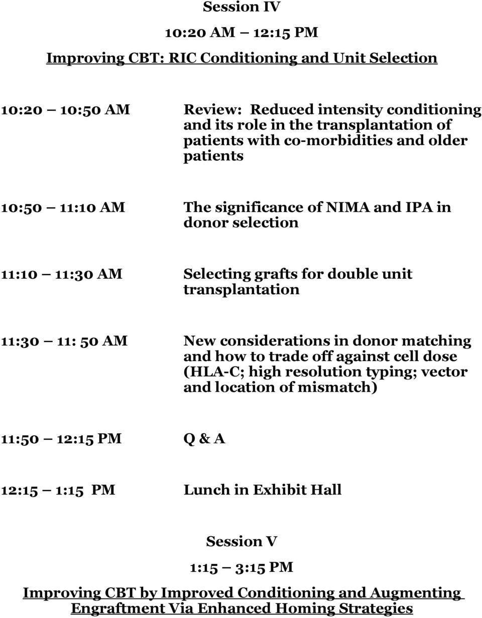 transplantation 11:30 11: 50 AM New considerations in donor matching and how to trade off against cell dose (HLA-C; high resolution typing; vector and location of