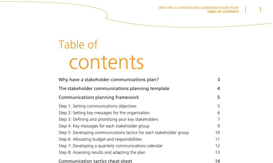 organisation 6 Step 3: Defining and prioritising your key stakeholders 7 Step 4: Key messages for each stakeholder group 9 Step 5: Developing communications tactics for