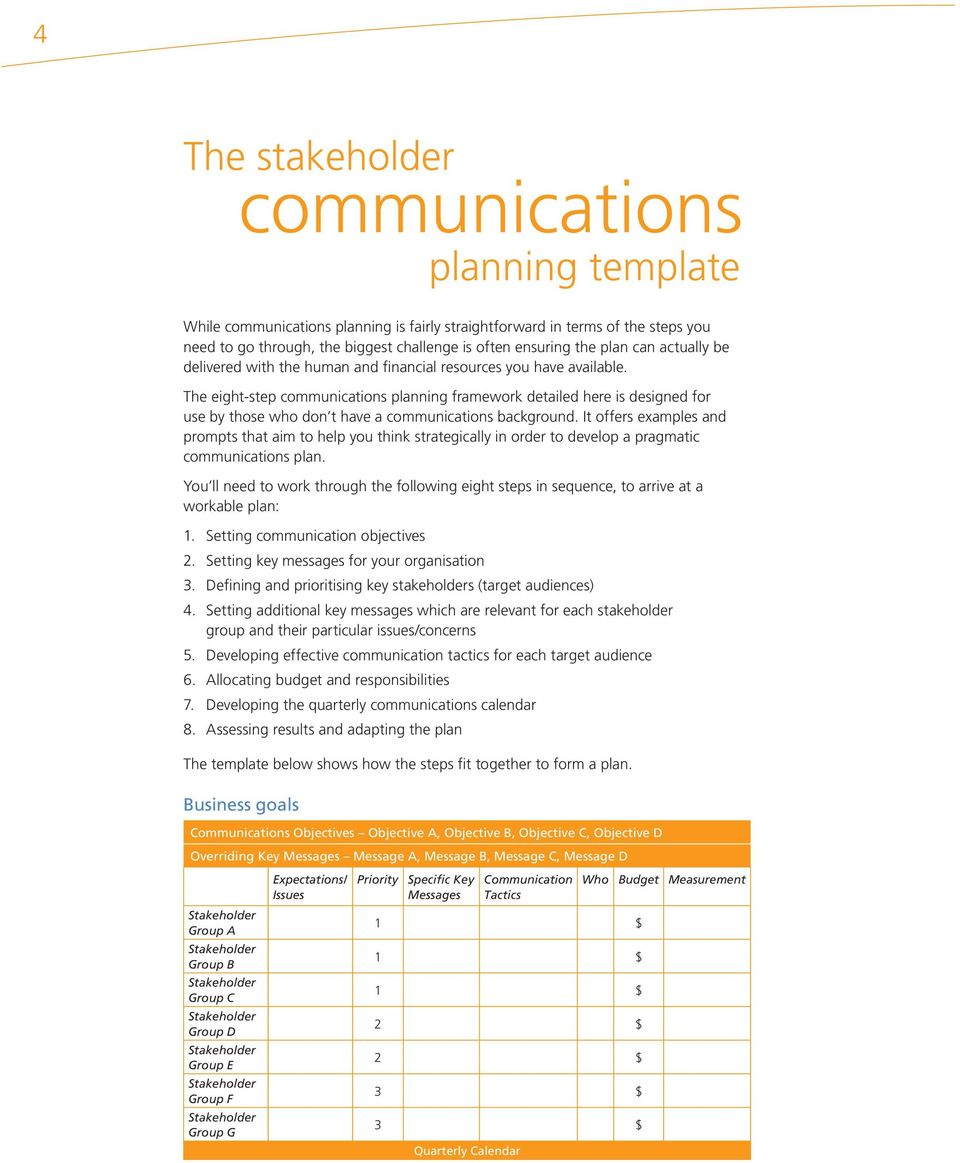 It offers examples and prompts that aim to help you think strategically in order to develop a pragmatic communications plan.