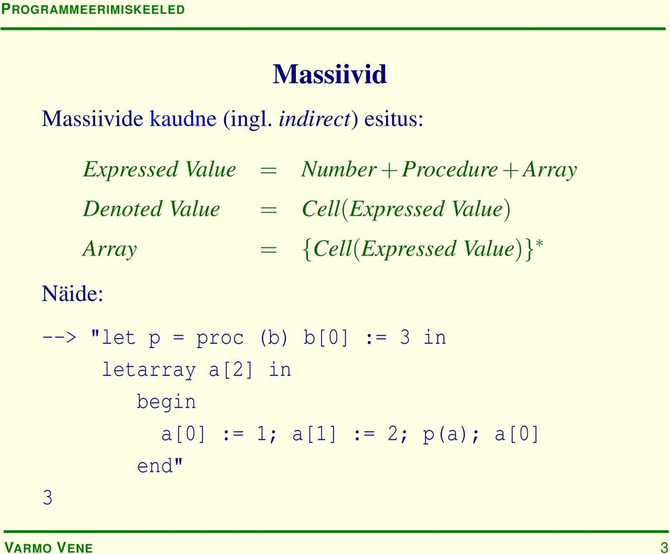 Denoted Value = Cell(Expressed Value) Array = {Cell(Expressed Value)}