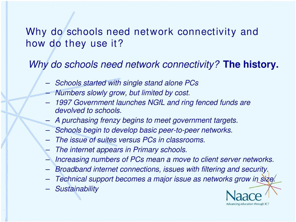Schools begin to develop basic peer-to-peer networks. The issue of suites versus PCs in classrooms. The internet appears in Primary schools.
