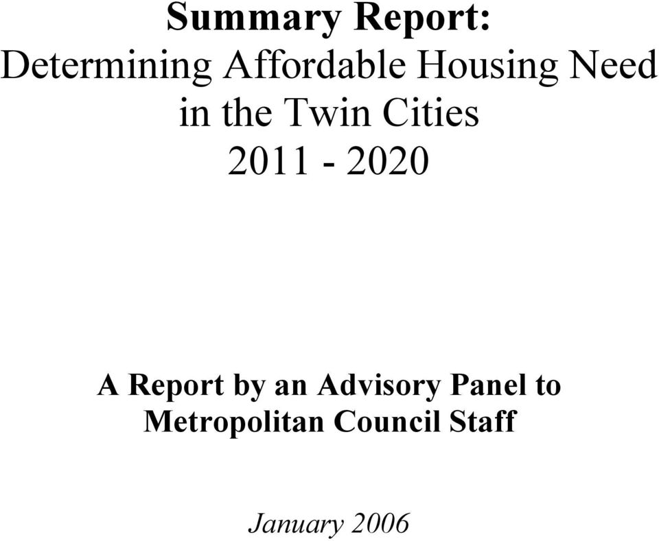 2011-2020 A Report by an Advisory