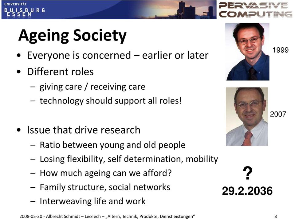 Issue that drive research Ratio between young and old people Losing flexibility, self determination, mobility