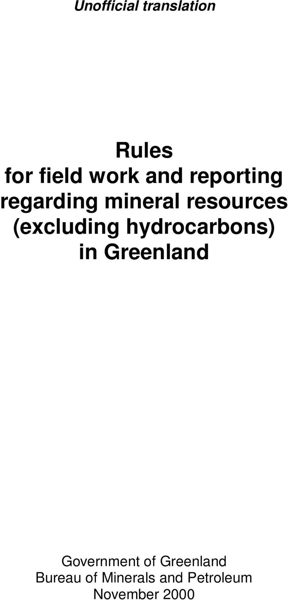 hydrocarbons) in Greenland Government of