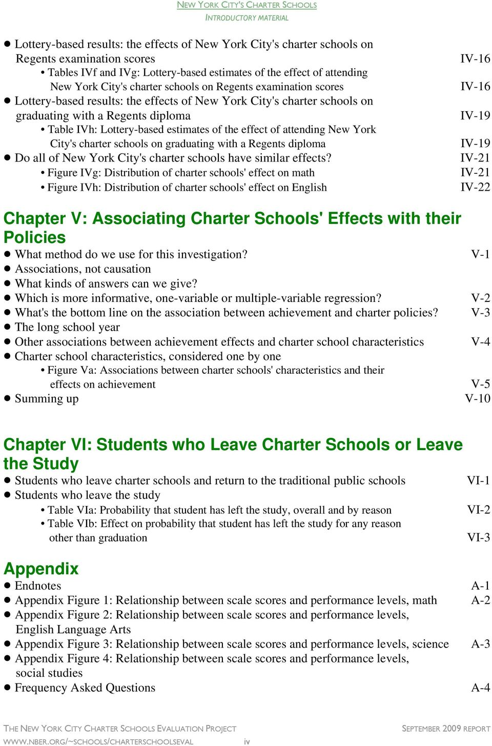 charter schools on Regents examination scores IV-16!