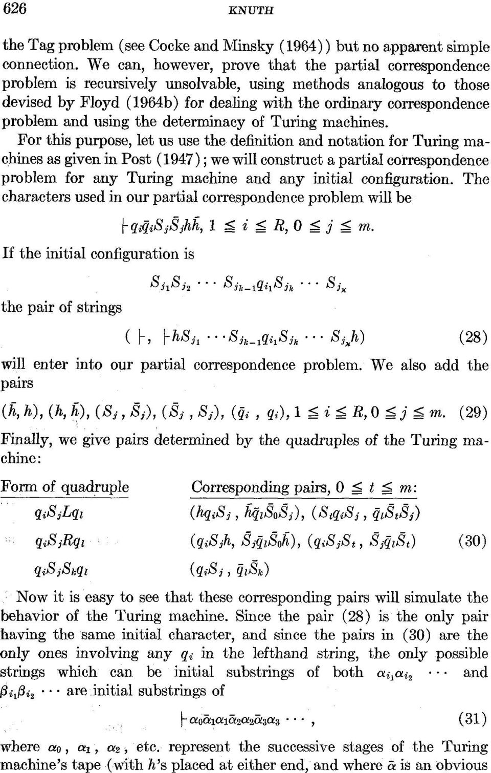 problem and using the determinacy of Turing machines. For this purpose, let us use the definition and notation for Turing mac.