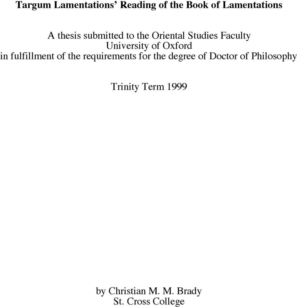 fulfillment of the requirements for the degree of Doctor of