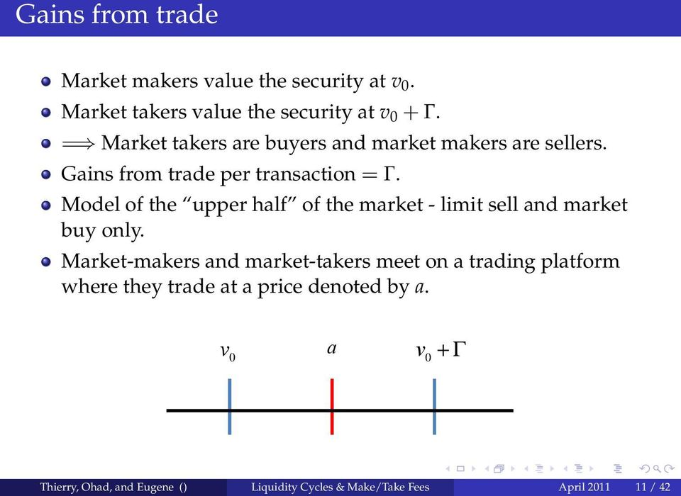 Model of the upper half of the market - limit sell and market buy only.