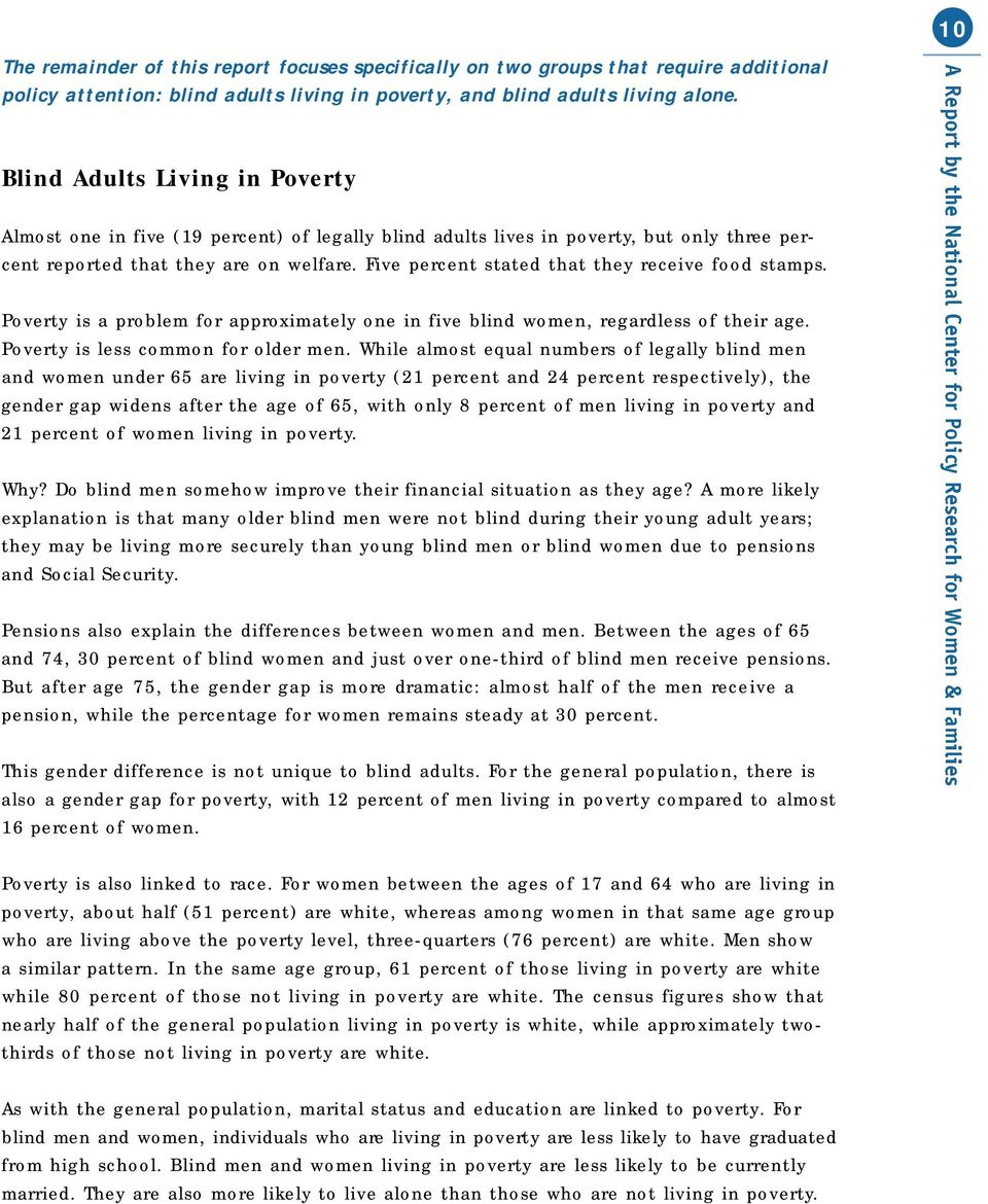 Five percent stated that they receive food stamps. Poverty is a problem for approximately one in five blind women, regardless of their age. Poverty is less common for older men.