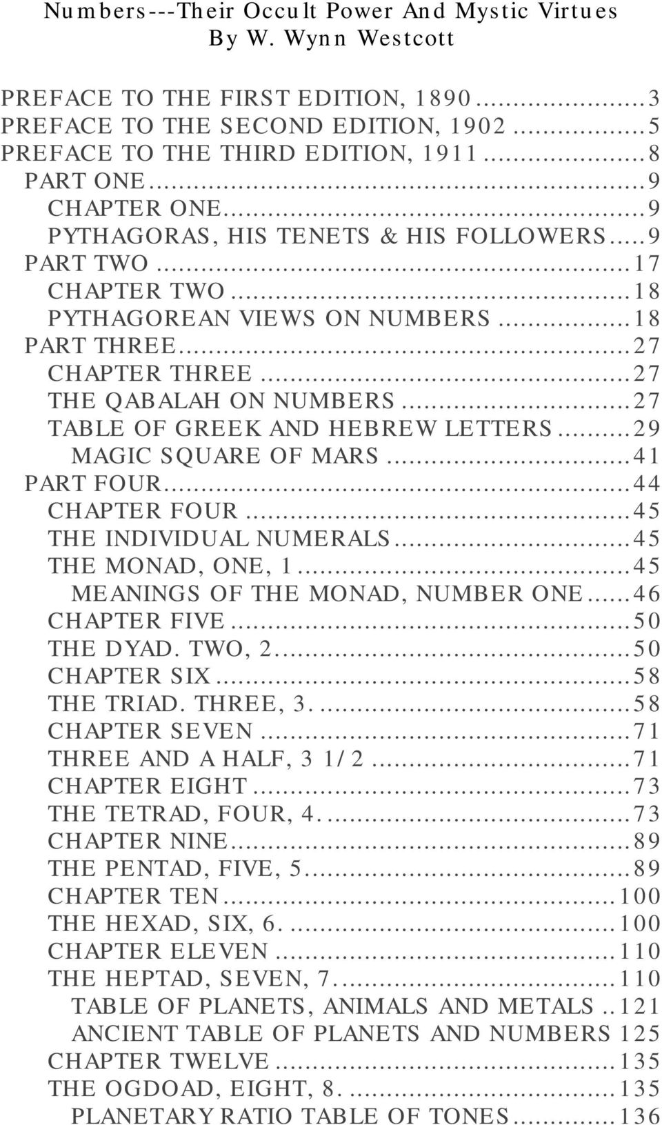 .. 41 PART FOUR... 44 CHAPTER FOUR... 45 THE INDIVIDUAL NUMERALS... 45 THE MONAD, ONE, 1... 45 MEANINGS OF THE MONAD, NUMBER ONE... 46 CHAPTER FIVE... 50 THE DYAD. TWO, 2... 50 CHAPTER SIX.