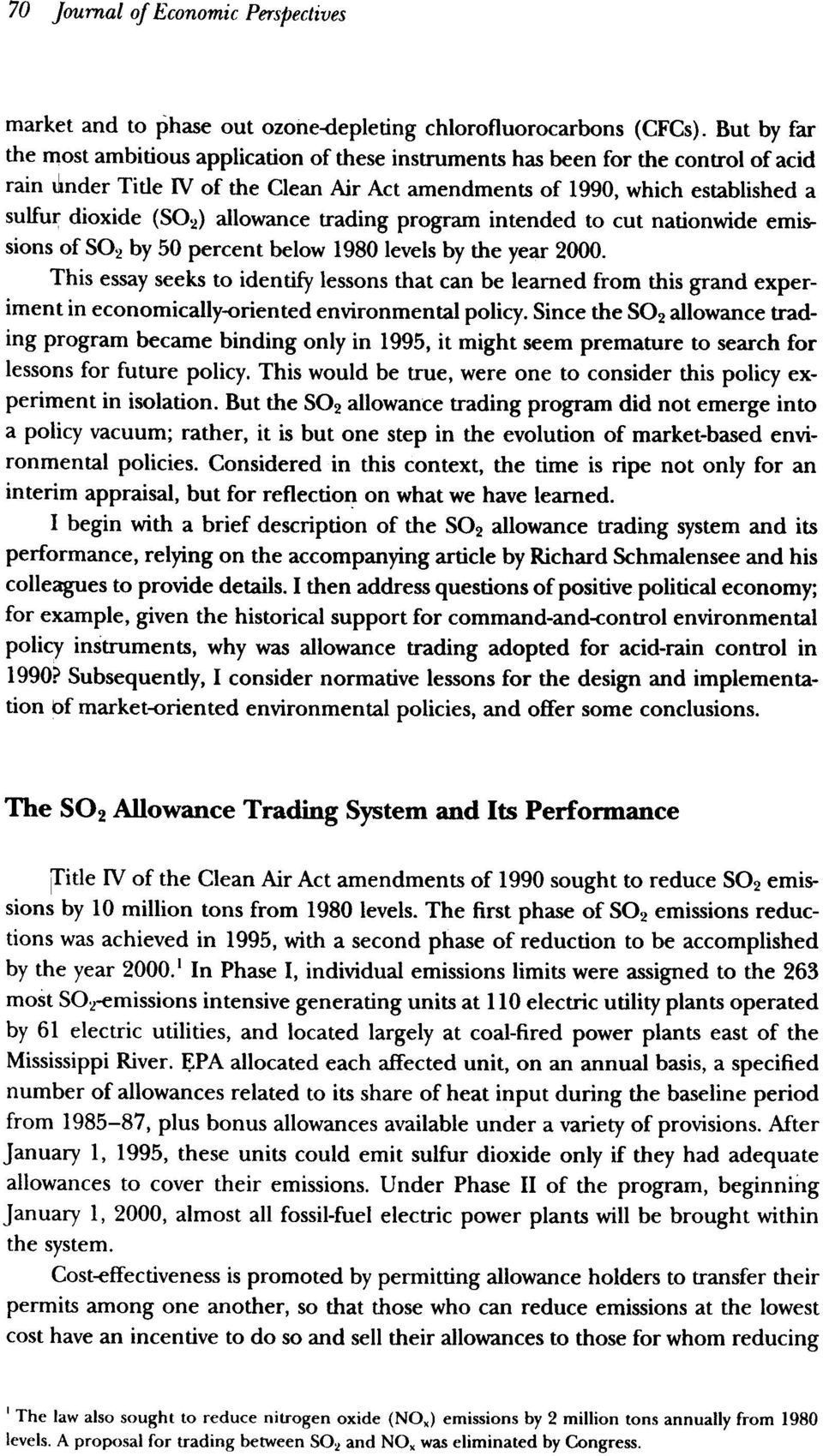 allowance trading program intended to cut nationwide emissions of S02 by 50 percent below 1980 levels by the year 2000.