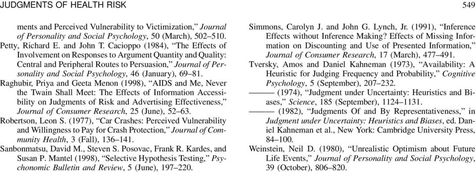 81. Raghubir, Priya and Geeta Menon (1998), AIDS and Me, Never the Twain Shall Meet: The Effects of Information Accessibility on Judgments of Risk and Advertising Effectiveness, Journal of Consumer