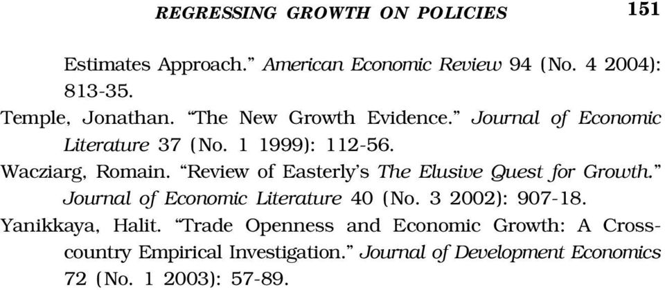 Review of Easterly's The Elusive Quest for Growth. Journal of Economic Literature 40 ( No. 3 2002): 907-18.