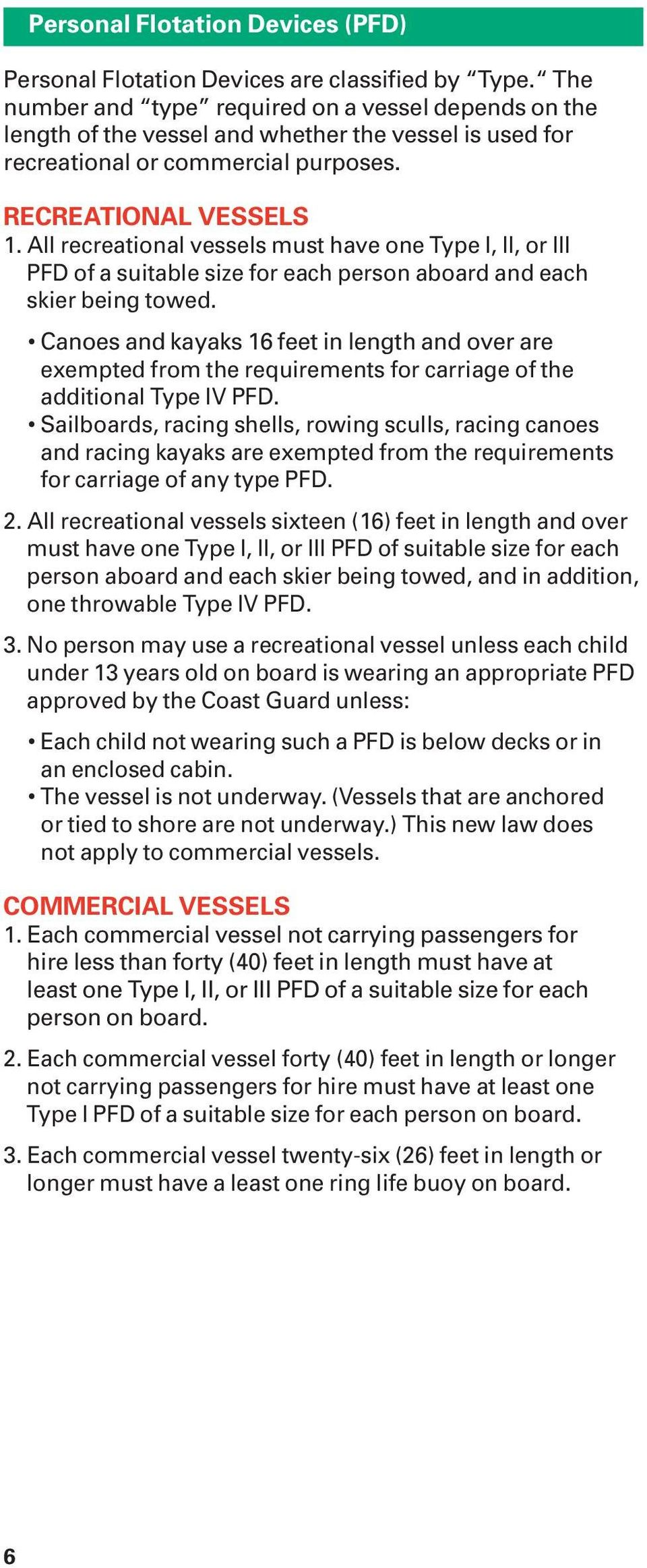 All recreational vessels must have one Type I, II, or III PFD of a suitable size for each person aboard and each skier being towed.