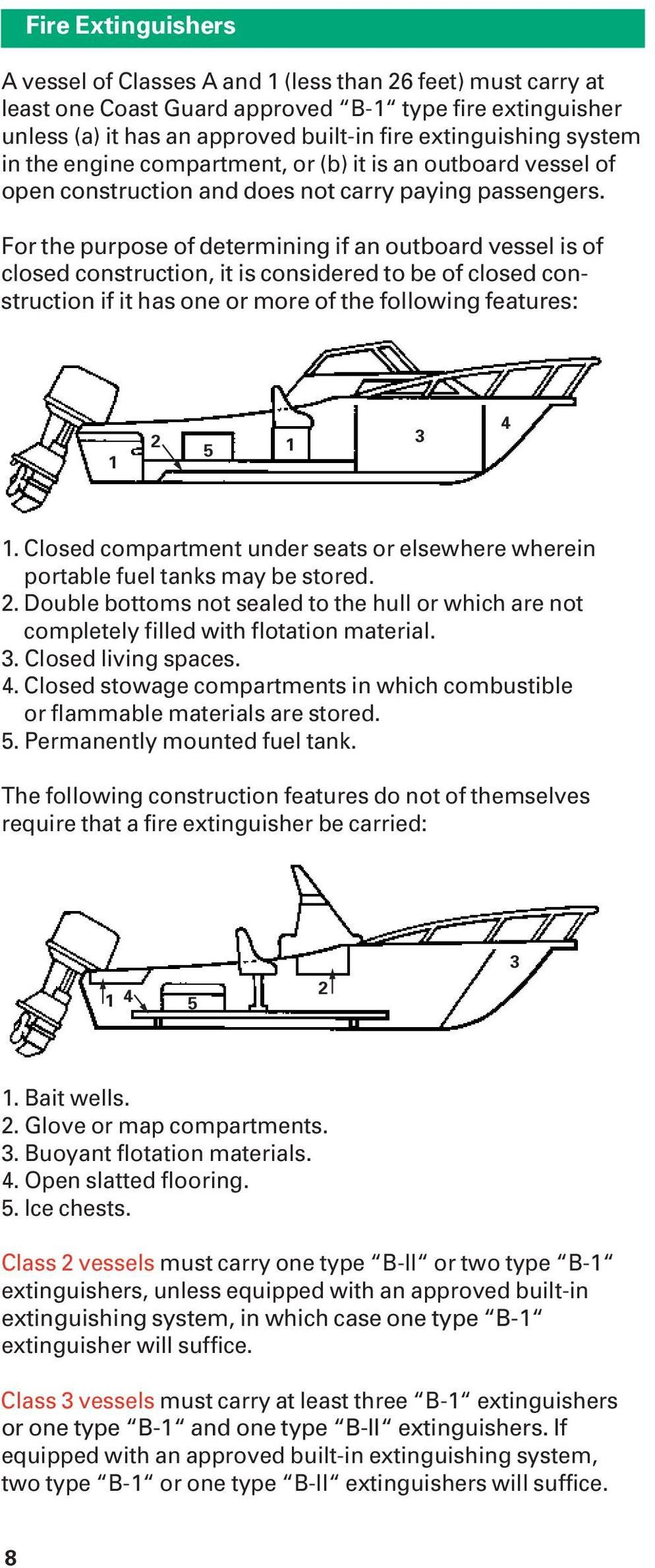 For the purpose of determining if an outboard vessel is of closed construction, it is considered to be of closed construction if it has one or more of the following features: 1 2 5 1 3 4 1.