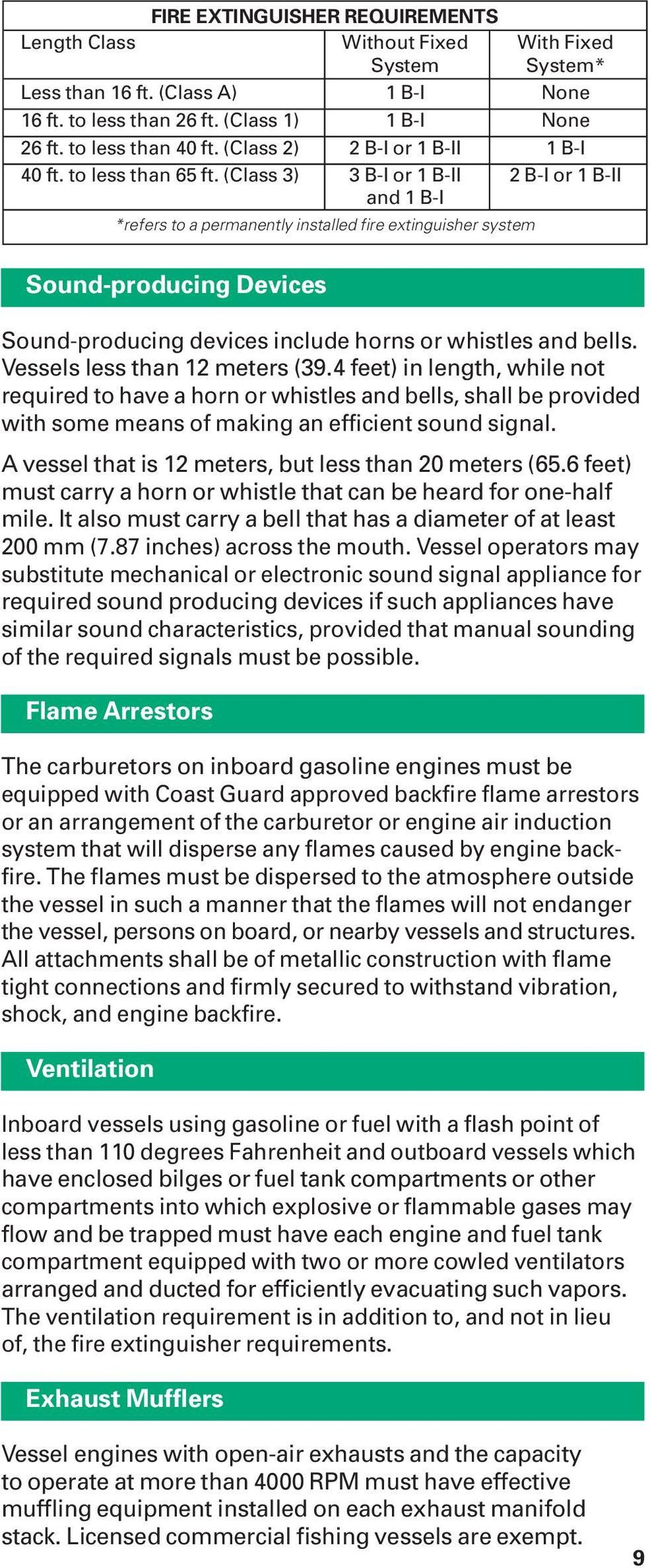 (Class 3) 3 B-I or 1 B-II 2 B-I or 1 B-II and 1 B-I *refers to a permanently installed fire extinguisher system Sound-producing Devices Sound-producing devices include horns or whistles and bells.