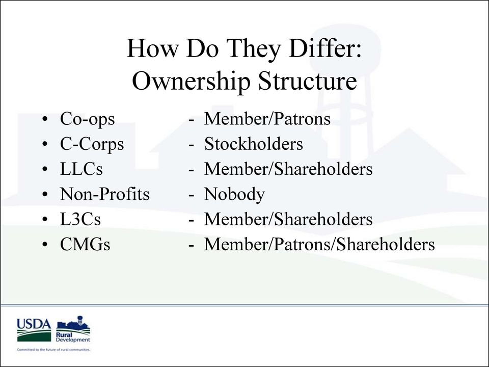 Member/Shareholders Non-Profits - Nobody L3Cs -
