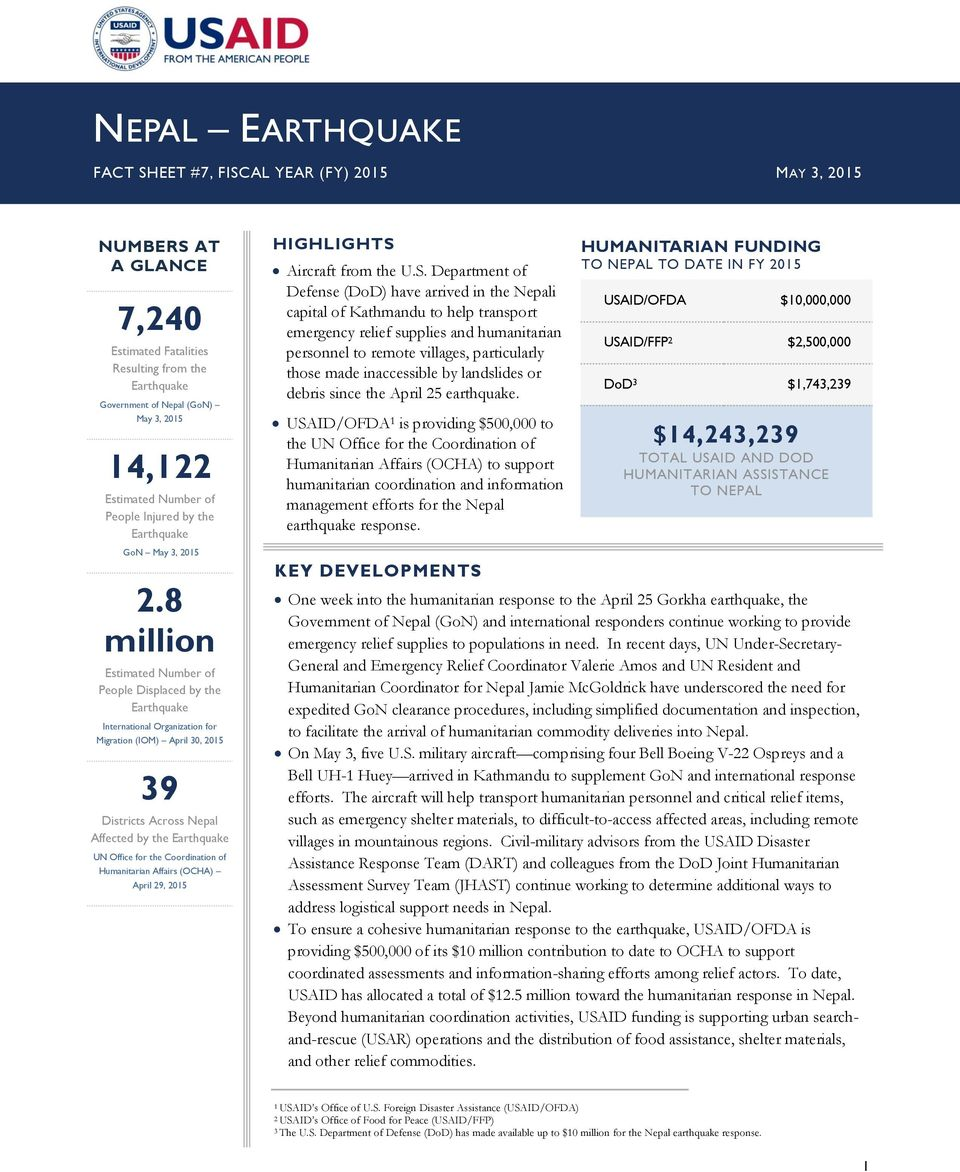 8 million Estimated Number of People Displaced by the International Organization for Migration (IOM) April 30, 2015 39 Districts Across Nepal Affected by the UN Office for the Coordination of