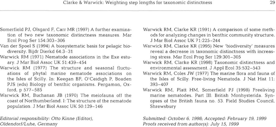 J Mar Biol Assoc UK 51:439-454 Warwick RM (1977) The structure and seasonal fluctuations of phytal marine nematode associations on the Isles of Sci:lly.