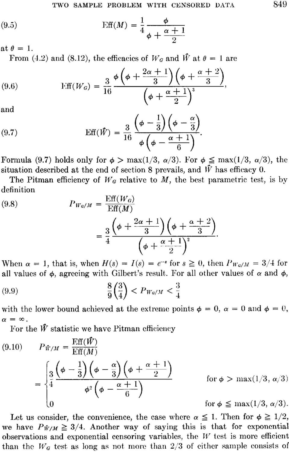 The Pitman efficiency of WG relative to M, the best parametric test, is by definition (9.