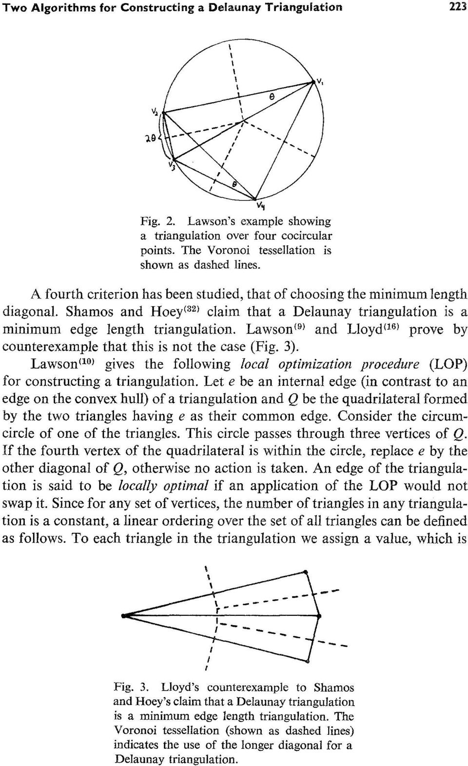 Lawson ~9) and Lloyd ~1~1 prove by counterexample that this is not the case (Fig. 3). Lawson a~ gives the following local optimization procedure (LOP) for constructing a triangulation.