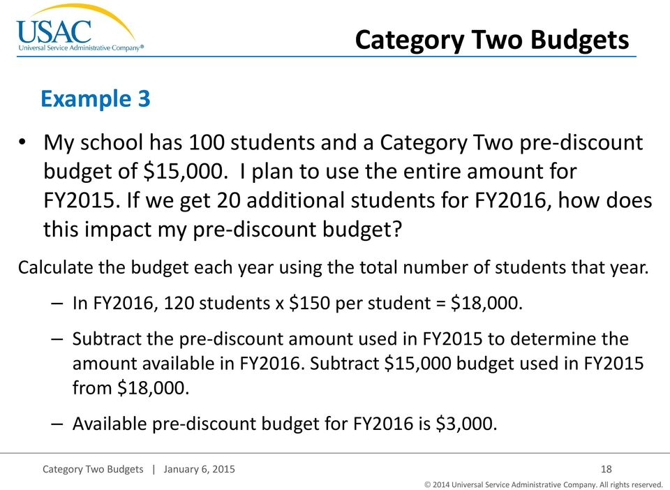 Calculate the budget each year using the total number of students that year. In FY2016, 120 students x $150 per student = $18,000.