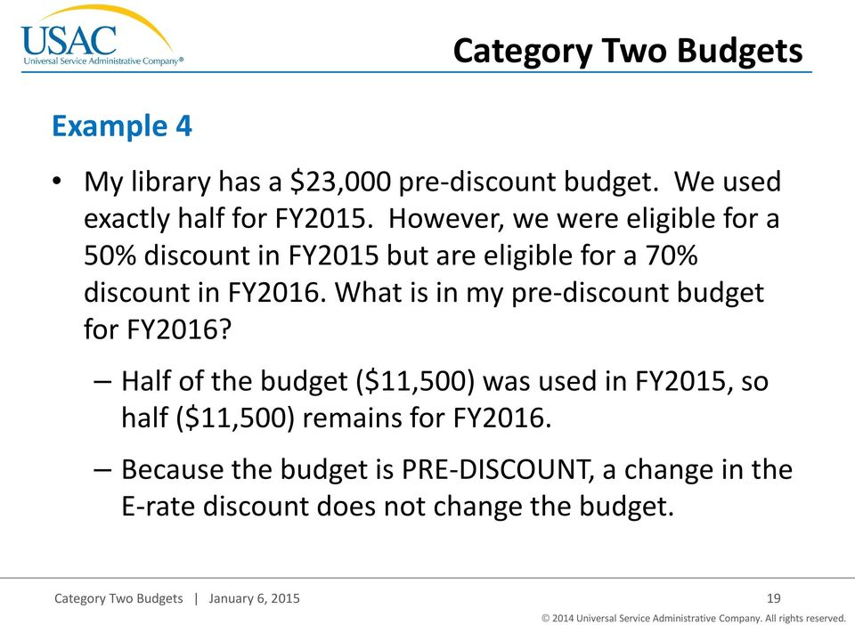 What is in my pre-discount budget for FY2016?