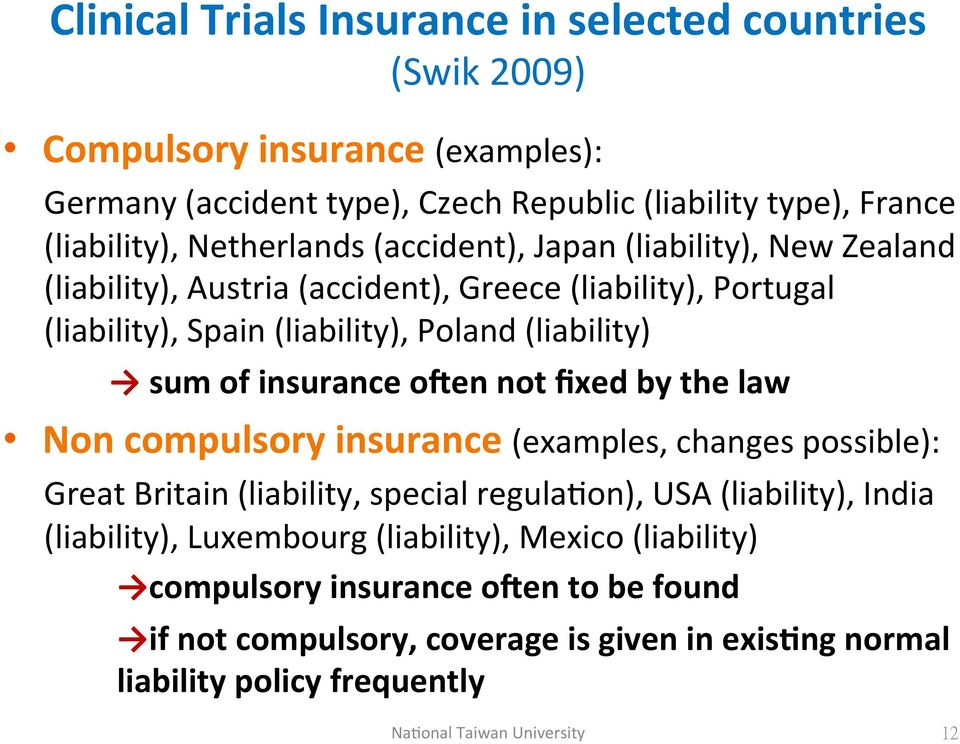 (liability),)spain)(liability),)poland)(liability)) ) )sum'of'insurance'olen'not'fixed'by'the'law' Non'compulsory'insurance'(examples,)changes)possible):)