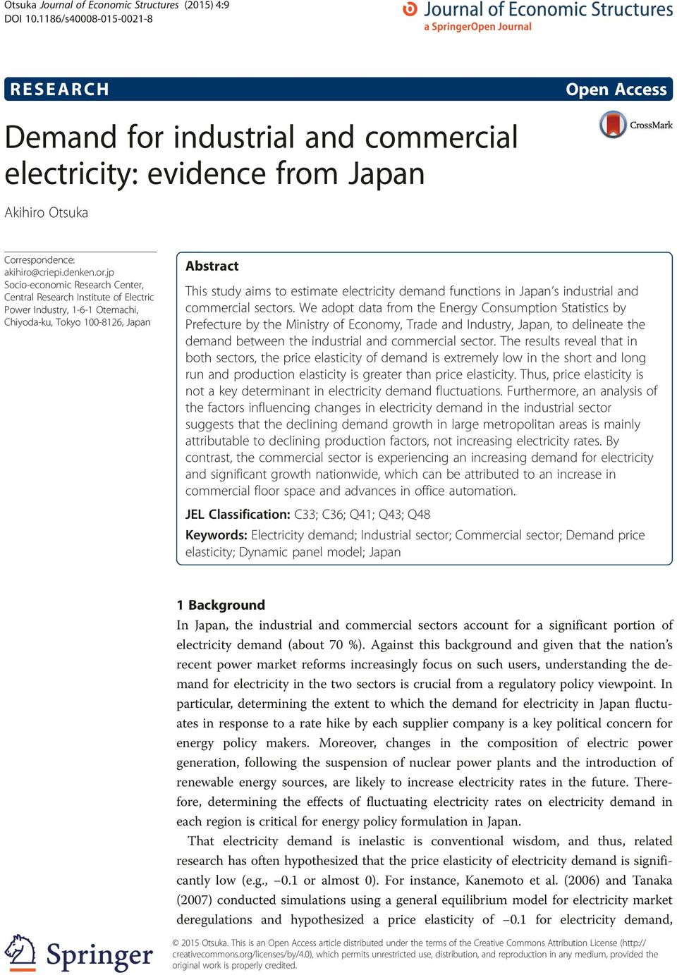 industrial and commercial electricity: evidence from Japan Akihiro Otsuka Corr