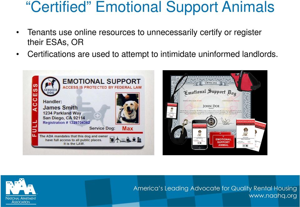 or register their ESAs, OR Certifications are