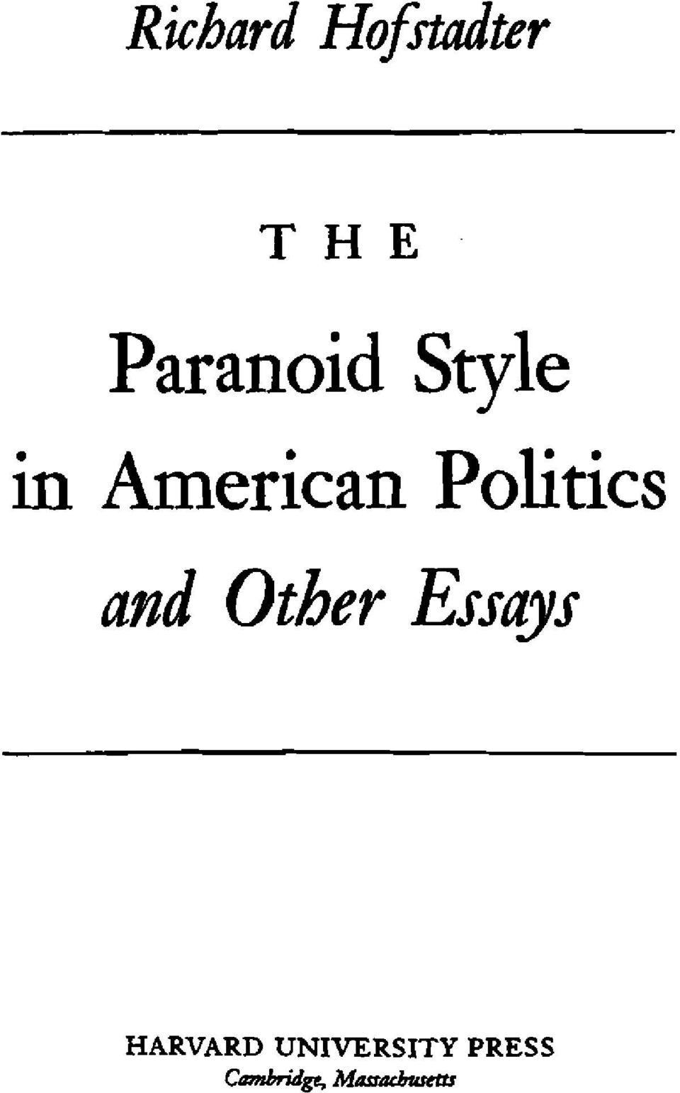 Politics and Other Essays
