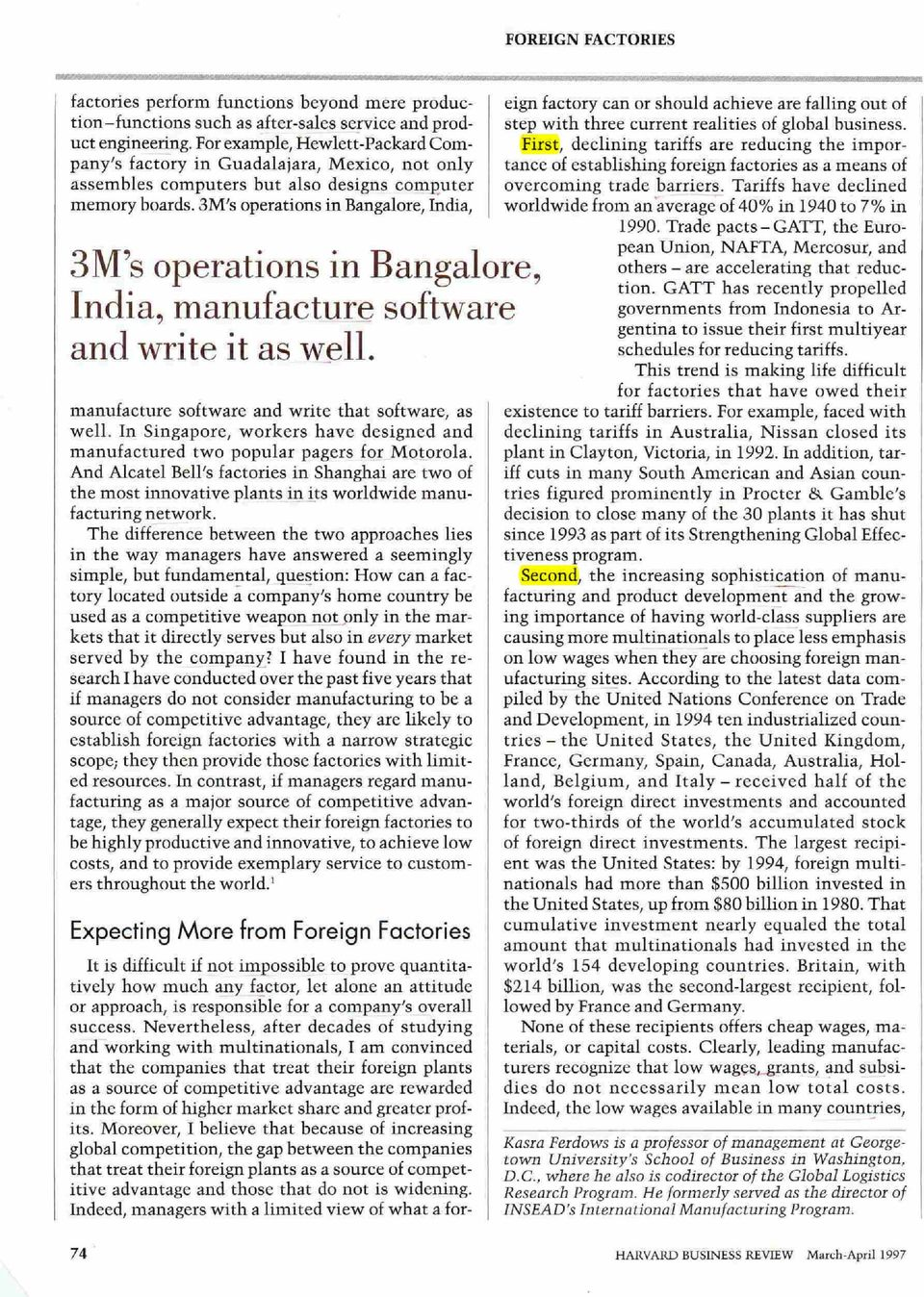 3M's operations in Bangalore, India, 3M's operations in Bangalore, India, manufacture software and write it as w~ll.