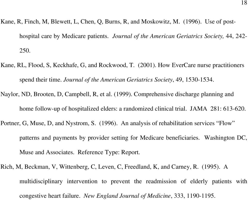Naylor, ND, Brooten, D, Campbell, R, et al. (1999). Comprehensive discharge planning and home follow-up of hospitalized elders: a randomized clinical trial. JAMA 281: 613-620.