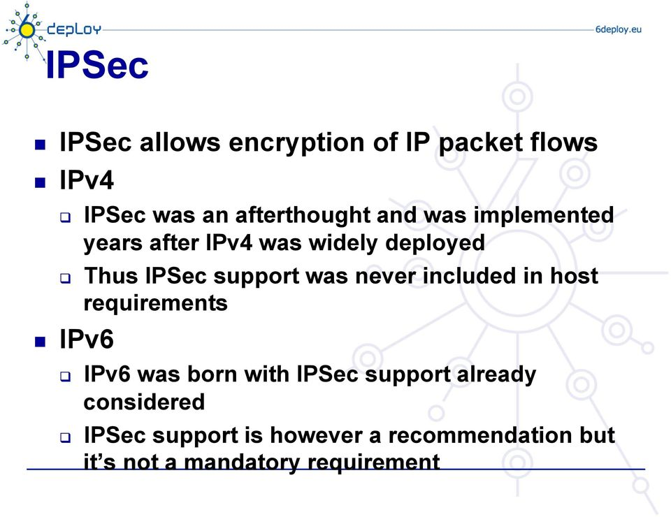 never included in host requirements IPv6 q IPv6 was born with IPSec support already