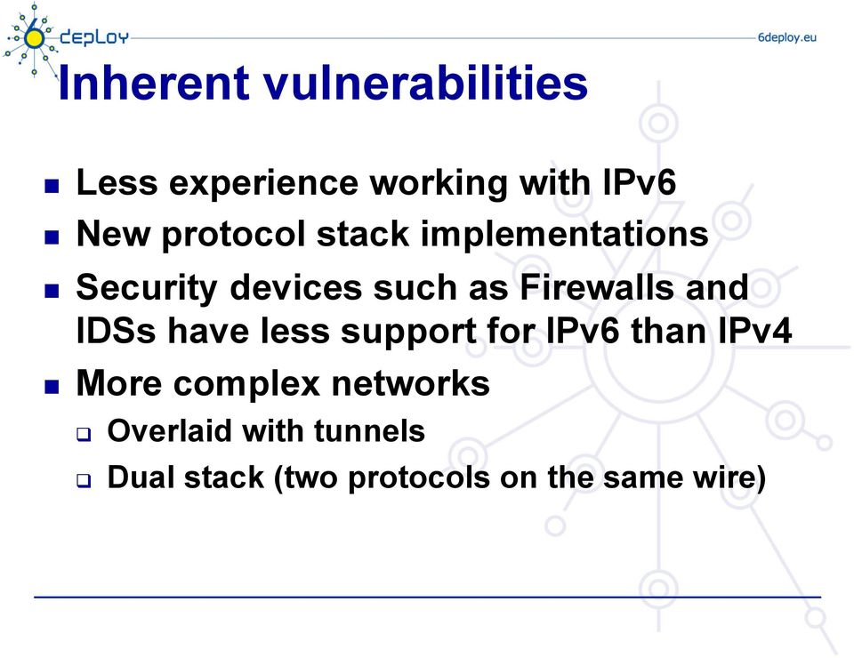 and IDSs have less support for IPv6 than IPv4 More complex
